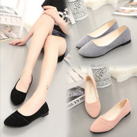 Simple Korean Style Women Pointy Comfort Flat Shoes Girls Ballet Shopping Moccasins Solid Ballerinas Casual Shoes