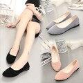 Corea Del estilo sencillo Mujeres Puntiagudos Comodidad Plana Zapatos de Ballet de Las Muchachas de Compras Mocasines Zapatos Bailarinas Casuales Sólido negro rosa