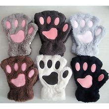 1 Pair Lovely Winter Gloves Cute Plush Warm Mittens Cat Paw