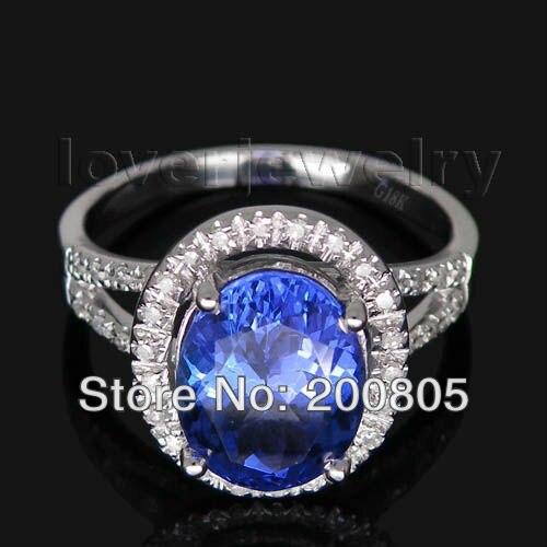 2d5ee24649c Oval Vintage 8x10mm Sólidos 14Kt Ouro Branco Diamante Tanzanite Anel WR0001