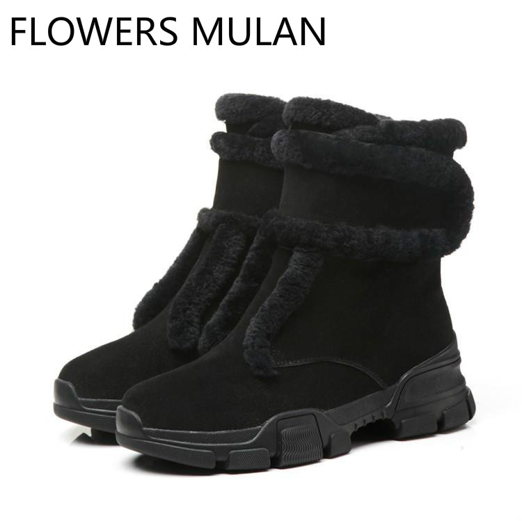 Black Suede Ankle Boots For Women Round Toe Middle Rubber Heel Winter Snow Boots For Girl One Hook & Loop Zapatos De Mujer ShoesBlack Suede Ankle Boots For Women Round Toe Middle Rubber Heel Winter Snow Boots For Girl One Hook & Loop Zapatos De Mujer Shoes