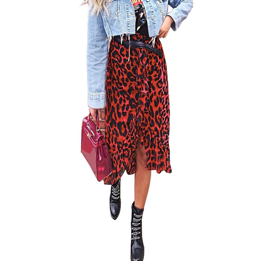 Womail Skirt Women Summer Leopard Print Vintage Long Women s Casual High Waist Pleated Skirt Fashion