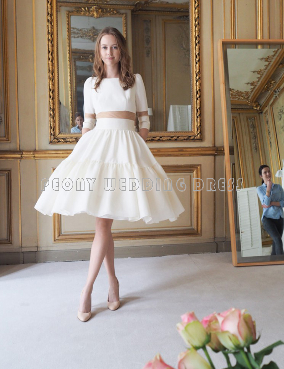 Unique Ivory Short Wedding Dresses 2016 Knee Length Ball Gown ...
