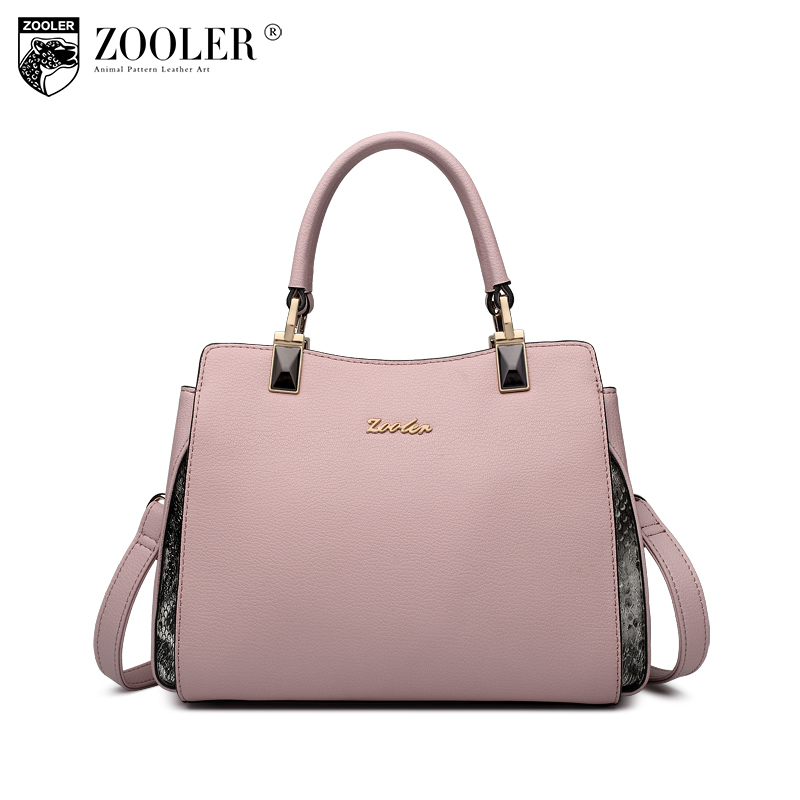 ZOOLER brand genuine leather bag woman tote elegant top handle bag solid leather shoulder bag pink&black bolsa feminina H110 hottest new woman leather handbag elegant zooler 2018 genuine leather bags top handle women bag brand bolsa feminina u500