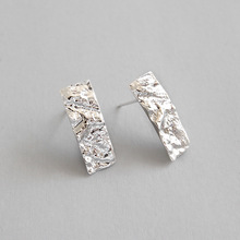 Authentic 100% S925 Sterling Silver geometric Square Irregular Stud Earrings ornaments Women Fine Earrings Jewelry smooth small simple puzzle stud earrings 100% s925 pure silver gold leaves irregular geometry ear fashion jewelry woman gift