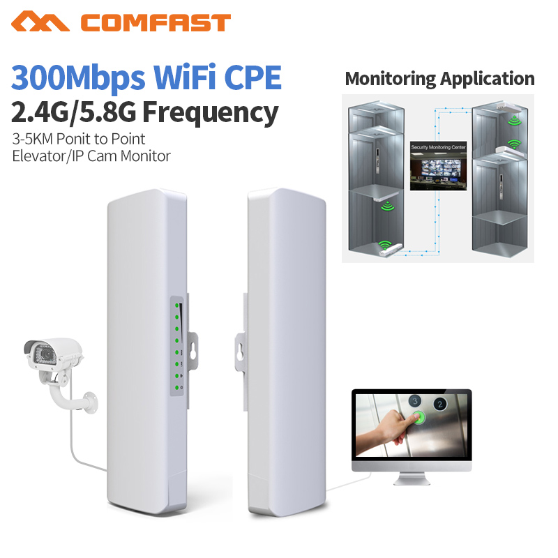 2pcs 300Mbps Comfast 2.4&5.8Gh wireless outdoor wifi Long range cpe 2*14dbi Antenna wi fi repeater router Access point bridge AP comfast 2 4ghz outdoor cpe bridge 150mbps long range signal booster extender 2 3km wireless ap 14dbi outdoor wifi repeater