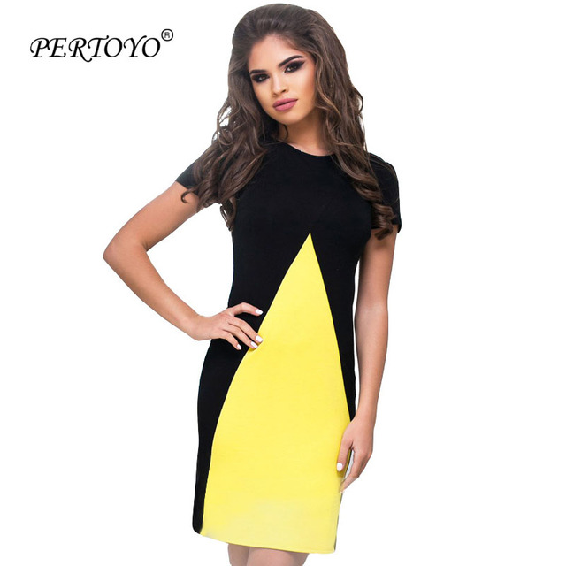 c9764060909 US $15.65 |PERTOYO Women Casual Summer Dress 2017 Fashion Yellow Black  Patchwork Mini Short Dress Female Wear To Work Office Shift Dress-in  Dresses ...