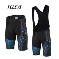 TELEYI Men's Cycling Shorts 3D Gel Padded Bike/Bicycle Outdoor Breathable Comfortable Bib Shorts Set Quick-Dry