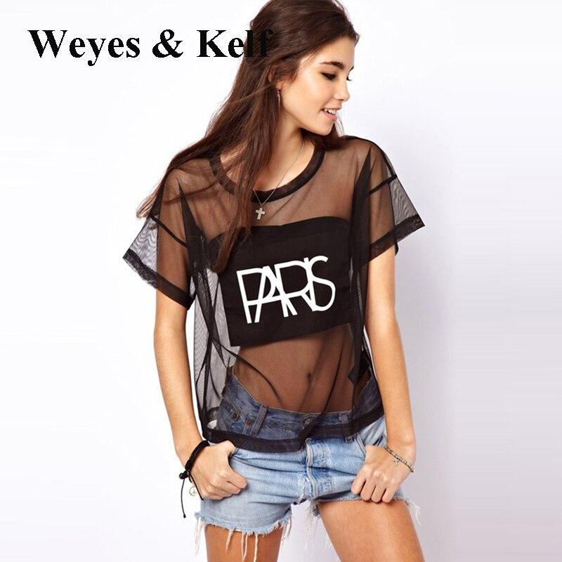 Weyes & Kelf Sexy Club Lettres Impression T shirt Femmes 2017 Transparent maille Punk style O neck top tee femmes