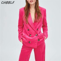 CHBBLF women stylish solid Corduroy suit blazer pockets long sleeve coat female Rose red wear top S1783