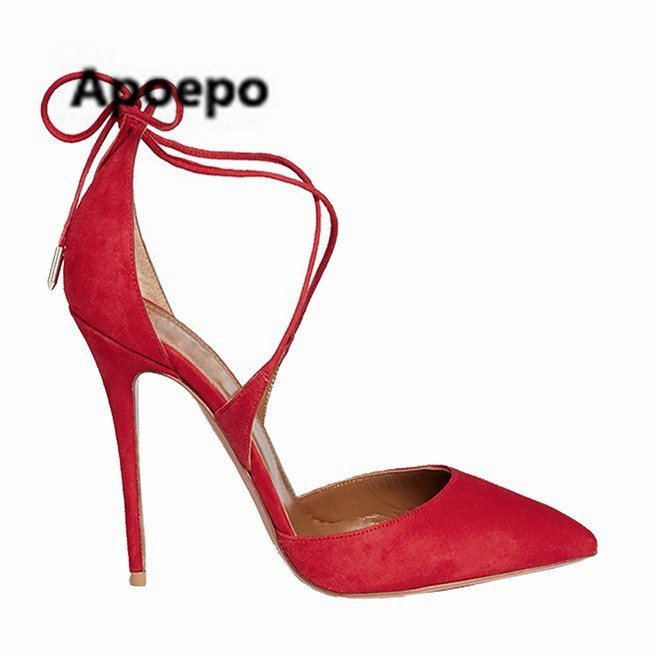 Apoepo Brand women shoes sandals 2018 summer pointed toe pumps lace up high heels sandals women red suede dress shoes free ship apoepo brand black luxury diamond sandals women sexy pointed toe string bead ladies shoes summer high heels sandals shoes 2018