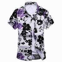 New Fashion Floral Print Hawaiian Shirt Men 2017 Summer Short Sleeve Flower Big Size 6XL 7XL