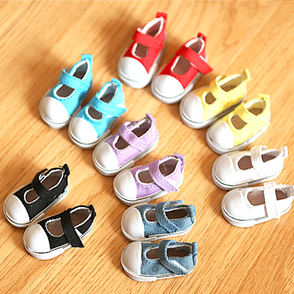 1Pair=2pcs 5cm Canvas Shoes For Doll Girl Gift For Baby Dolls Gift Doll Accessories Birthday Gift