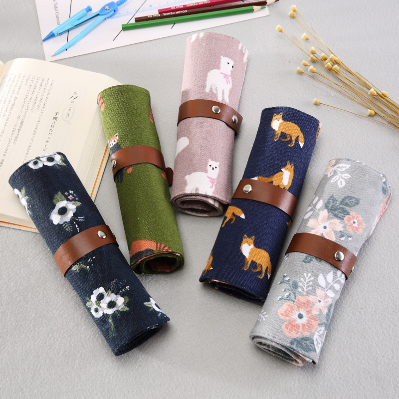 Cute Cartoon Animals Pencil Case School Canvas Roll Pouch Makeup Brush Pen Storage Pencil Box For Kids Gifts Painting Supplies