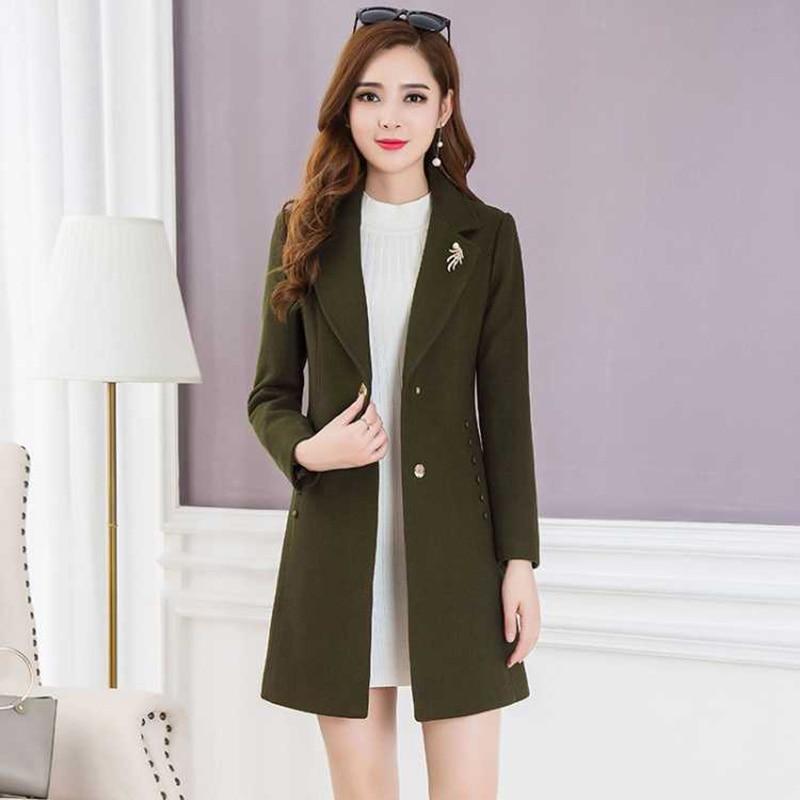 Manteau en laine mélangée pour femme d'âge moyen veste d'hiver de haute qualité pour femme manteau en laine Slim décontracté en manteau Long pour femme grande taille
