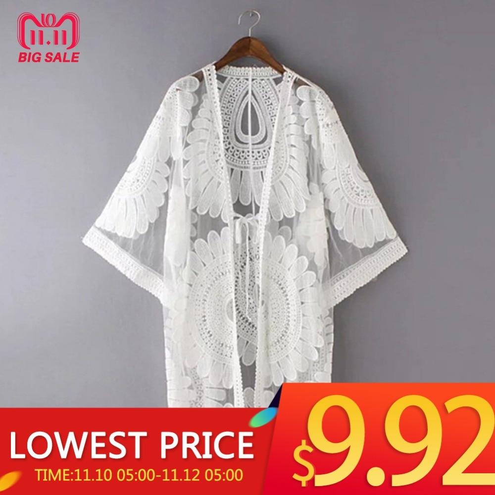 New Summer Swimsuit Lace Hollow Crochet Beach Bikini Cover Up 34 Sleeve Women Tops Swimwear Beach Dress White Beach Tunic Shirt