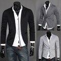 Frete grátis nova moda primavera 2016 malha blazer ocasional dos homens one button slim fit suit curto para homens m-2xl 3-cores/TJ14