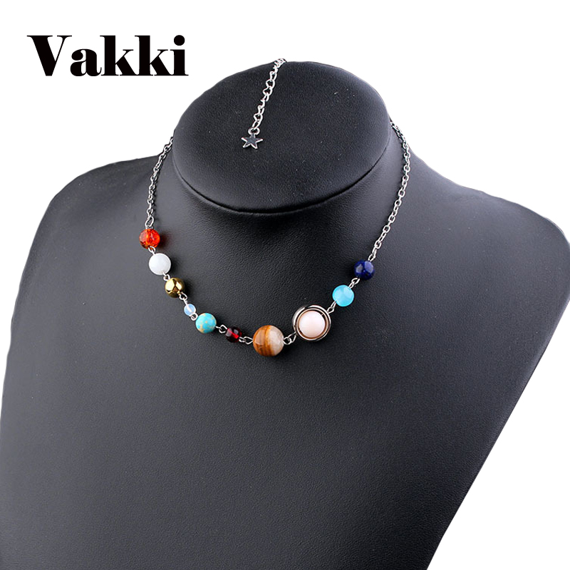 2018 New Universe Galaxy the Eight Planets Solar System Guardian Star Natural Stone Chokers Necklace for Women Sweater Chain