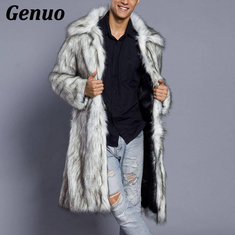 Genuo 2018 Men Fur   Coat   North Winter Faux Fur Outwear Windbreaker Both Side   Coat   Men Punk Parka Jackets Overcoats Streetwear