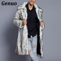 Genuo 2018 Men Fur Coat North Winter Faux Fur Outwear Windbreaker Both Side Coat Men Punk Parka Jackets Overcoats Streetwear