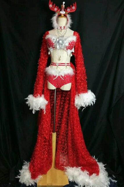 79e47622dc03 Conjunto de Navidad brillantes diamantes imitación Sexy rojo mono escenario  baile traje pelele mujeres estiramiento cumpleaños vestido celebración