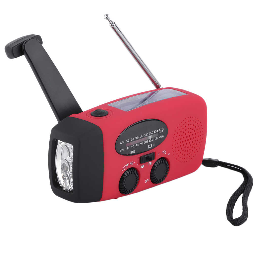 Emergency Solar hand crank flashlight electric torch dynamo bright 3 LED lighting lamp AM/FM solar radio mid-band radio