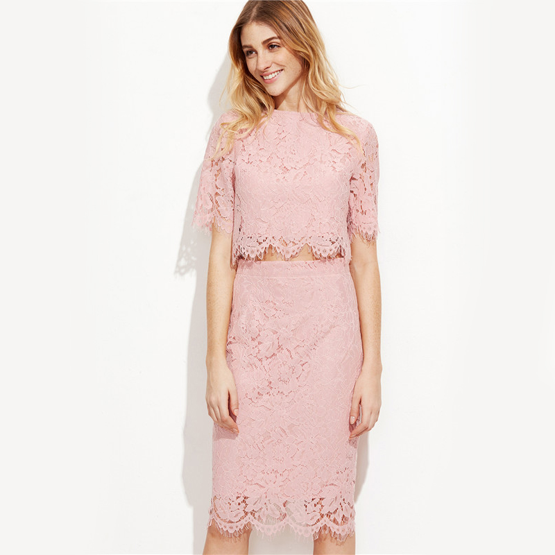 Vintage Pink Open Midriff Floral Lace Summer Party Dress