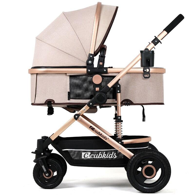 Four wheel High Landscape Baby Stroller for 0 3Y Children Luxury Trolley Portable Pushchairs Folding Sit
