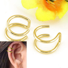 Clip-on Earrings No Pierced Non-piercing Earcuff Ear Clip Earrings Without Piercing Gold Silver Black