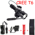 Cree Xm-l T6 LED 1600 lm Tactical Waterproof Flashlight with Remote Switch 18650 Rechargeable Batteries and AC Charger kit