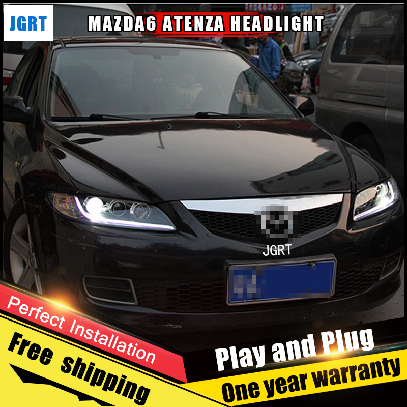 2PCS Car Style LED headlights for Mazda 6 2003-2013 for Mazda 6 head lamp LED DRL Lens Double Beam H7 HID Xenon bi xenon lens bi xenon headlights for mazda 6 2003 2004 hi low beam projector lens with angel eyes hid bulb