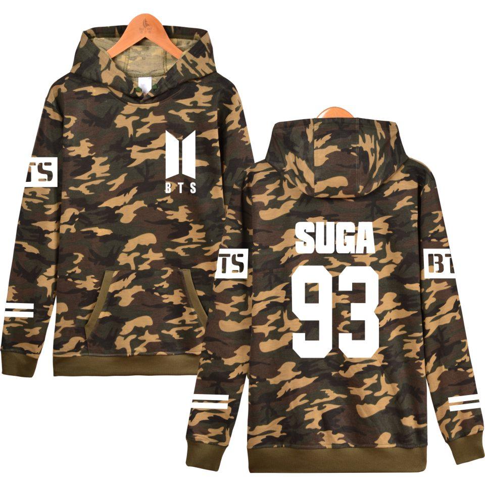 BTS love yourself Camouflage Hoodies Women/men Winter Hoodies sweatshirt kpop Casual bts Clothes fashion plus size