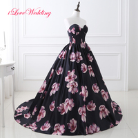 iLoveWedding New Arrival Printed Satin Prom Dresses 2017 Sweetheart Ball Gown Chapel Train Empire Formal Prom Gowns 26402