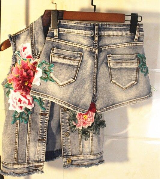 Jeans Femmes Manches Manteau Gilet Denim Courte De D'été Picture Fleurs Sans As Appliques Vestes Mode wxpqI1Px