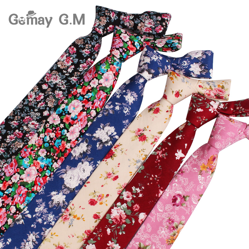 New Casual Floral Print Ties For Men Narrow Cotton Necktie For Wedding Colorful Mens Neck Ties Business Party Tie Adult Cravat