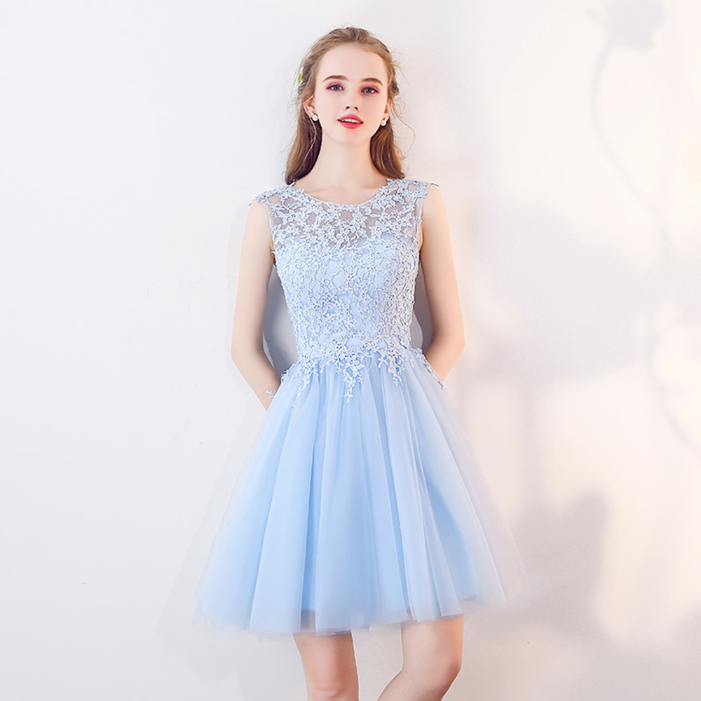 Babyonline Lace Applique Short Homecoming Dresses 2018 Sleeveless Party  Dresses Lace Up Back vestidos de graduacion. 20180824 160501 265  20180824 160501 268 ... 21aa89751915