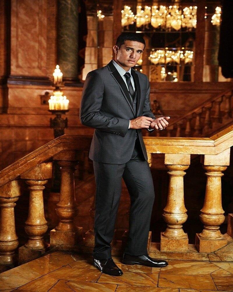 Custom Design One Button Dark Grey Groom Tuxedos Groomsmen Men`s Wedding Suits Prom Bridegroom (Jacket+Pants+Vest+Tie)