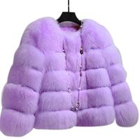 Women's Winter Thick Warm Faux Fur Coat Pink Purple Furry Artificial Fox Fur Long Sleeve Casual Jacket Overcoat For Ladies