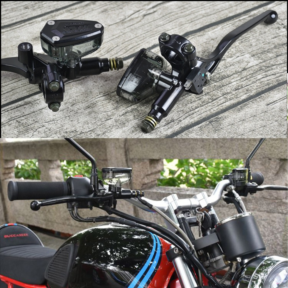 US $22 15 6% OFF|Motorcycle ATV Dirt Bike Black Hydraulic Clutch & Lever  Master Cylinder Brake Pump Transparent cup Retro Vintage-in Levers, Ropes &