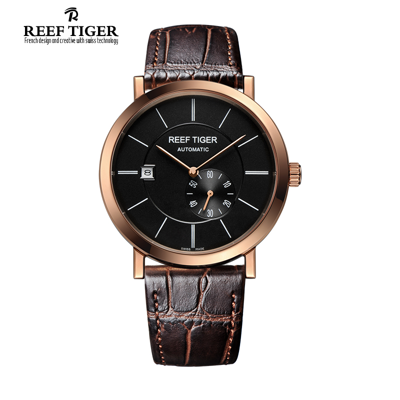 Reef Tiger/RT Ultra Thin Rose Gold Watches For Men Business Automatic Watch with Date Calfskin Leather Waterproof  Watch RGA161 2x yongnuo yn600ex rt yn e3 rt master flash speedlite for canon rt radio trigger system st e3 rt 600ex rt 5d3 7d 6d 70d 60d 5d