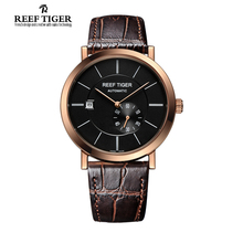 Reef Tiger/RT Ultra Thin Rose Gold Watches For Men Business Automatic Watch with Date Calfskin Leather Waterproof  Watch RGA161