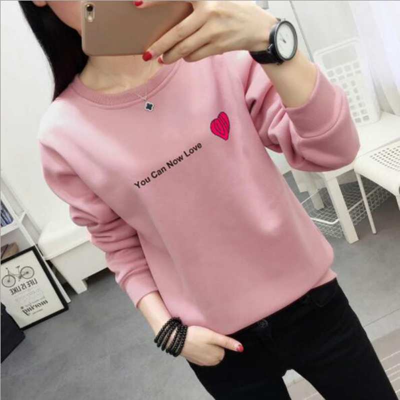 Sweet Style Women Hoodies Fashion Letters Print Long Sleeve O Neck Thick Womens Sweatshirt Casual Loose Sudadera Mujer