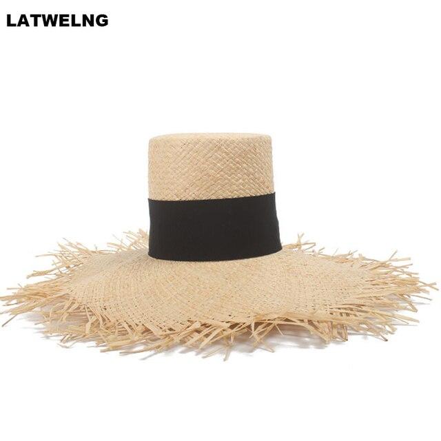 d6b03bed 2019 Fashion Show Luxury Brand High Top Flat Straw Hats For Women Raffia  Big Brim Beach Hat Large Hats Dropshipping Wholesale
