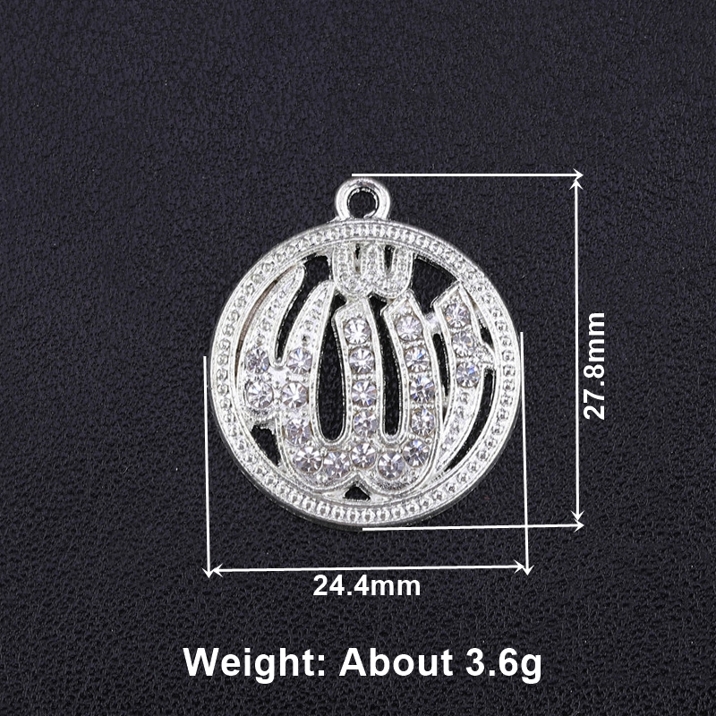 Image 2 - Juya 5pcs Wholesale Islamic Charms Rhinestones Gold Silver  Crescent Allah Connectors Accessories For Muslim Qamis Jewelry  MakingCharms