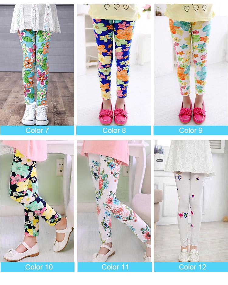 girl pants new arrive printing Flower girls leggings Toddler Classic Leggings  2-14Ybaby girls leggings kids leggings