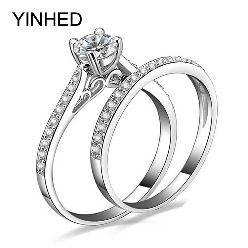 YINHED 1ct Cubic Zirconia Engagement Ring Set 925 Sterling Silver Wedding Rings For Women Promise Ring Bridal Jewelry ZR143