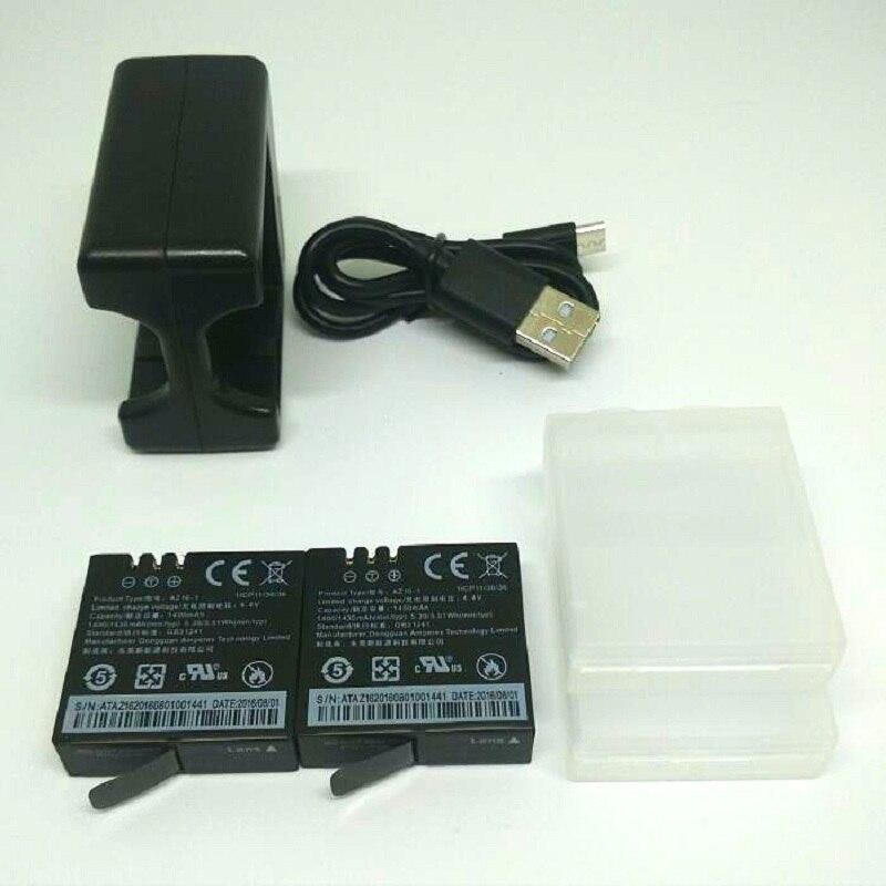 Prix pour 2 pcs d'origine xiaomi yi 4 k batterie az16-1 + usb double chargeur Pour Xiaoyi Action Sports Caméra 2 4 K 1400 mAh Rechargeable batterie