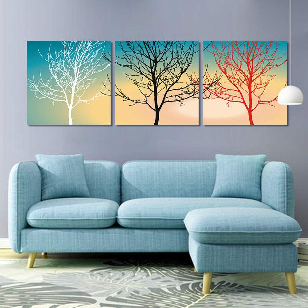 Unframed Multiple Pieces HD Canvas Painting Abstract Dry Tree Pure Colo Prints Wall Pictures For Living Room Wall Art Decoration