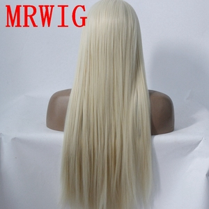 Image 3 - MRWIG long straight26in #613 middle part synthetic heat resistant fiber transparent lace synthetic fiber front lace wig