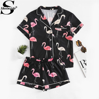 Sheinside 2017 Revere Collar Allover Flamingo Print Blouse Shorts Pajama Set Black Short Sleeve Cute Sleepwear